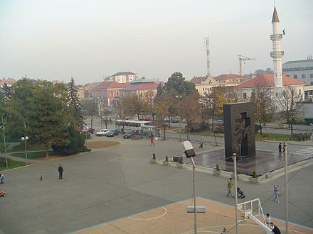 The Atik mosque (demolished during the war and reconstructed since) by the town square - Bijeljina