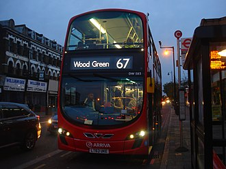 London Buses route 67 - Arriva London Wright Gemini 2 bodied VDL DB300 in Dalston in October 2013