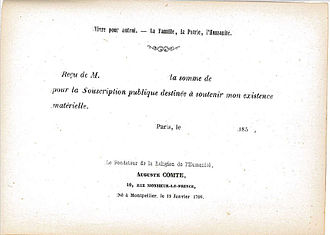 Crowdfunding - Image: Auguste Comte, Souscription 1850