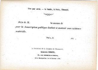 Crowdfunding - Image: Auguste Comte, Souscription 1850