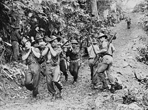 4th Brigade (Australia) - Soldiers from the 29th/46th Battalion evacuate a wounded comrade following fighting around Gusika on New Guinea, November 1943