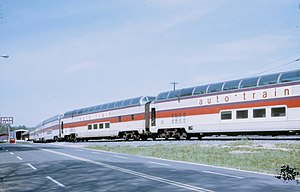 "Auto-Train Corporation - Auto-Train ex-Santa Fe ""Big Dome"" dome cars at Lorton, Virginia in 1973"