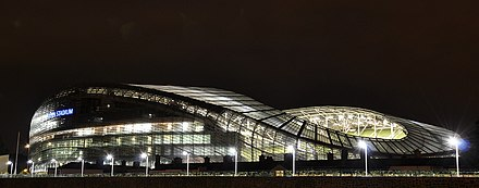 Aviva Stadium, on Lansdowne Road Aviva Stadium by Night.jpg