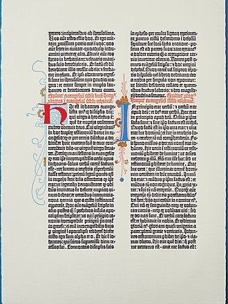 Gutenberg Museum - A type facsimile of a page from the Gutenberg Bible, printed at the museum