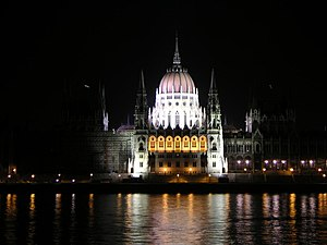 Hungarian Parliament house illuminated, Budape...