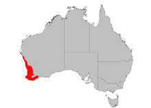a map of Australia with red across the a broad swathe of the southwestern corner