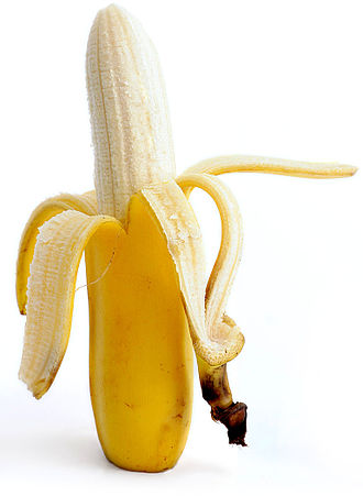 Peel (fruit) - A partially peeled banana.