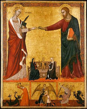 Mystical marriage of Saint Catherine - Barna da Siena, 1340s, a very early example