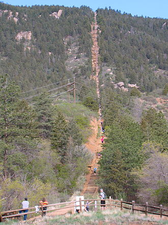 Iron Springs, Colorado - View of the Manitou Incline from the base, May 2013