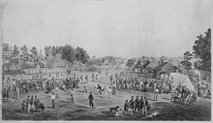 Salisbury National Cemetery - Drawing of baseball game between Union prisoners at Salisbury Prison by Otto Boetticher