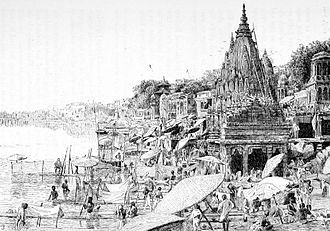 Varanasi - An illustration (1890) of Bathing Ghat in Varanasi