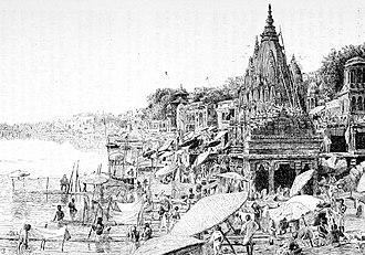 Varanasi - An illustration (1890) of Bathing Ghat in Varanasi
