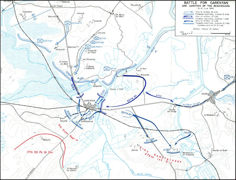Map depicting the Battle for Carentan
