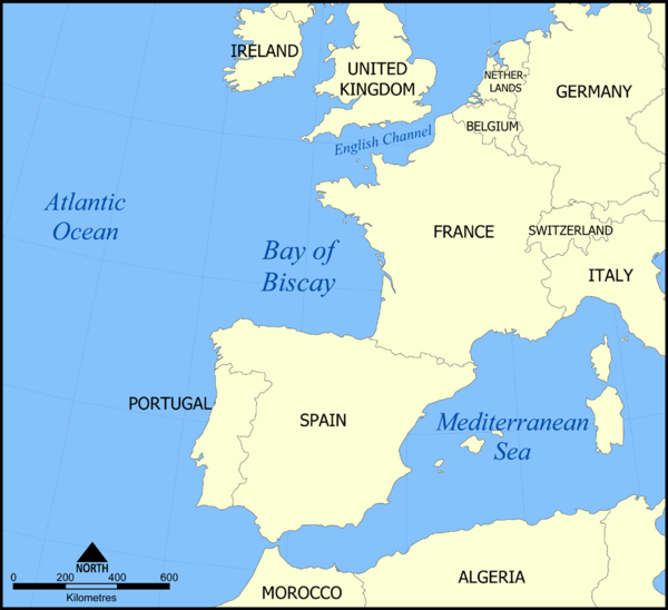 The French, Spanish and Portuguese governments refused to allow the Prestige to dock in their ports. Bay of Biscay map.png