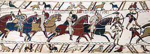 Quiver - Image: Bayeux Tapestry scene 51 Battle of Hastings Norman knights and archers
