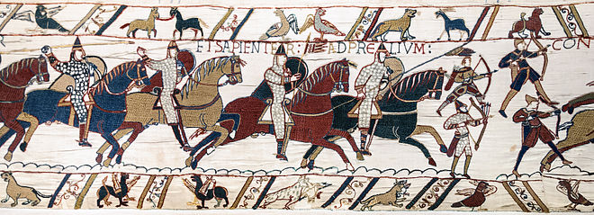 Horse-mounted Normans charging in the Bayeux Tapestry, 11th century. Bayeux Tapestry scene51 Battle of Hastings Norman knights and archers.jpg