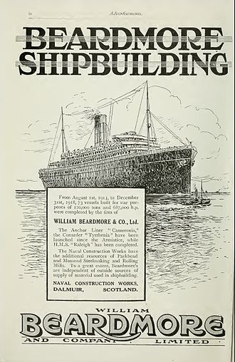 William Beardmore and Company - Image: Beardmore advertisement Brasseys 1923