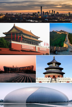 Clockwise from top: Beijing CBD skyline, Great Wall of Badaling, Temple of Heaven, National Center for the Performing Arts, Beijing National Stadium, Tiananmen