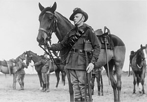 "10th Light Horse Regiment (Australia) - Trooper K. Butcher with his horse in July 1943. Butcher was the winner of the 10th Light Horse Regiment's ""Best turned out light horseman"" competition at the unit's annual sports day"