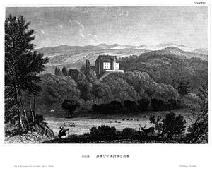 Haßberge Hills - A symbol of the Haßberge: the Bettenburg near Hofheim (19th century steel engraving)