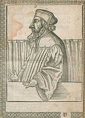 """Portrait of Jan Hus, from the book by Johann Agricola published in Wittenberg in 1562: """"Portraits of several princes and lords at the time of the Reformation"""""""