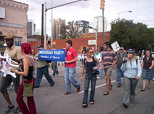 Loretta Nall - Loretta Nall (far right, with camera) joined others in a September 24, 2005 anti-war protest in Birmingham, Alabama.
