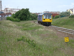 Blackpool branch lines - A Northern Rail Class 142 close to Blackpool Pleasure Beach station
