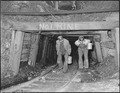 Blaine Sergent, left, comes out of the mine at the end of the day's work. P V & K Coal Company, Clover Gap Mine... - NARA - 541293.tif