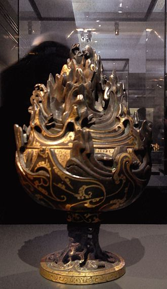 Liu Sheng, Prince of Zhongshan - Bronze incense burner inlaid with gold; from the tomb of Liu Sheng, Prince of Zhongshan, at Hebei Mancheng, Western Han period, 2nd century BC