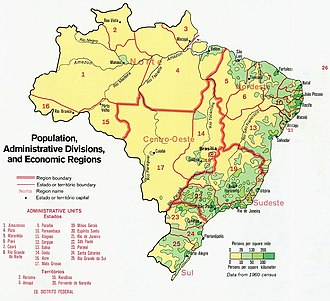 Demographics of Brazil - Population density, administrative divisions and economic regions of Brazil (1977).