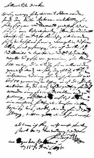 Battle of Rathenow - The letter from Frederick II of Hesse-Homburg of 15 June 1675 to his wife
