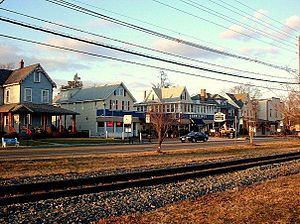 Palmyra, New Jersey - East Broad Street, Palmyra, near Northern Edge of Town with RiverLINE tracks in foreground