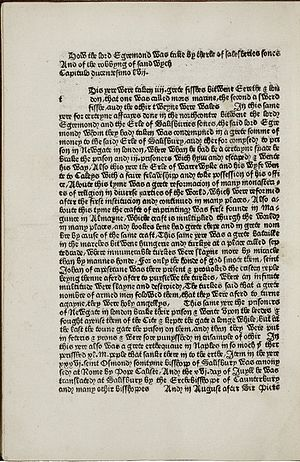 William Caxton - A page from the Brut Chronicles (printed as the Chronicles of England), printed in 1480 by Caxton
