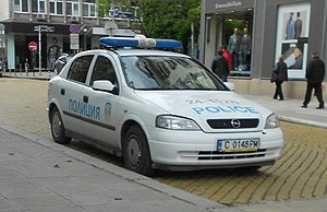 Law enforcement in Bulgaria - Police car on the streets of Sofia.