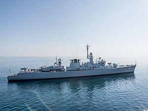 Belgian frigate Wielingen (F910) - Verni in the Black Sea, 8 July 2015.
