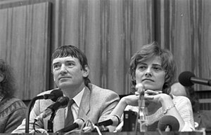 Green politics - German Green Party co-founder, Petra Kelly, with former German cabinet member, Otto Schily, at press conference in 1983.