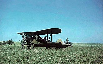 Damaged and abandoned Po-2 forced to land in Ukraine, and subsequently captured by German troops, 1941. Bundesarchiv Bild 169-0112, Russland, erbeutetes Flugzeug Po-2 - restored.jpg
