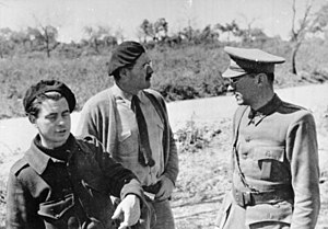 Ludwig Renn - Ludwig Renn (right), International Brigade officer, with Dutch filmmaker Joris Ivens and Ernest Hemingway (centre). 1937