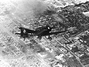 Bombing of Stalingrad - Junkers Ju 87 ''Stuka'' dive bomber over the neighborhood west of the Red October factory.