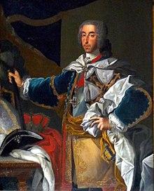 Clemens August als Hochmeister des Deutschen Ordens (Porträt auf der Burg Meersburg) (Quelle: Wikimedia)