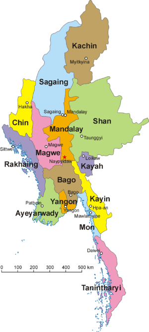 The 14 states and divisions of Burma