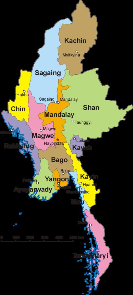 Peta 14 negara bagian dan divisi Myanmar