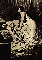The Vampire, Philip Burne-Jones' most famous photographic work.