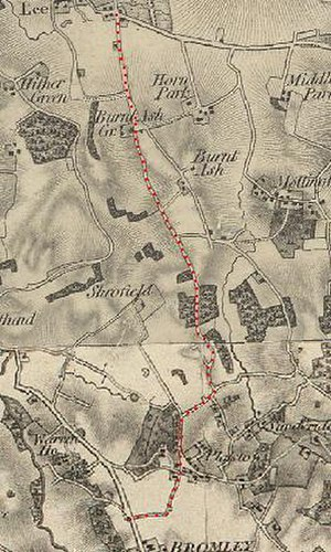 A2212 road - Section of OS map published in 1841 showing Burnt Ash, now the A2212 road, and the surrounding area