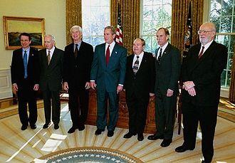 Paul Lauterbur - U.S. President George W. Bush with the six 2003 American Nobel laureates in the Oval Office. From left to right, Dr. Roderick MacKinnon, New York City (chemistry); Dr. Anthony Leggett, Urbana, Illinois (physics); Dr. Robert Engle, New York City (economics); Dr. Alexei Abrikosov, Argonne, Illinois (physics); Dr. Peter Agre, Baltimore, Maryland (chemistry); and Dr. Paul Lauterbur, Urbana, Illinois (physiology/medicine).