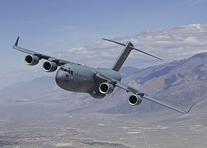 Military transport aircraft - Boeing C-17 Globemaster III military cargo aircraft.