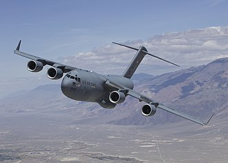 Boeing C-17 Globemaster III - The prototype C-17, known as T-1, flying a test sortie in 2007