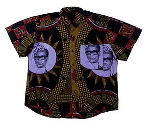 Mobutu Sese Seko - A Congolese cotton shirt embellished with a portrait of Mobutu from the collection of the Tropenmuseum in Amsterdam