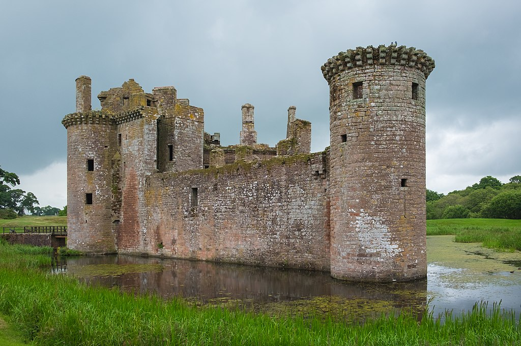Caerlaverock Castle in Scotland surrounded by a mote of water