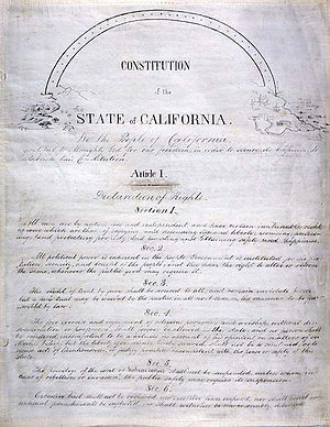 Constitutional Convention (California) - Handwritten parchment copy of the 1849 constitution